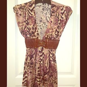Animal print Sky top w/ faux leather detail